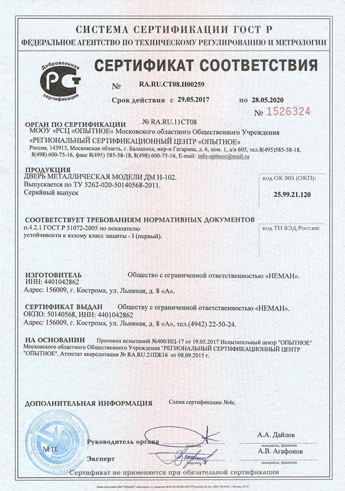 Сертификация на взломостойкость стальных дверей сертификация оборудования сумки chanel